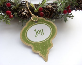 Joy Christmas Bauble Gift Tags Set of 6 Green Vintage Appearance