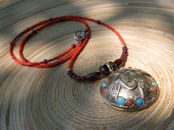 Om necklace with inlaid Nepali silver pendant, garnet, orange and red beads, fine silver spaces // yoga necklace