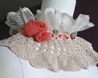 Vintage Lace Crocheted Collar, Handmade Flowers, Vintage Rhinestone Buttons, Collar Necklace