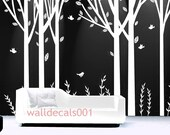 white Tree Wall Decals wall stickers room decor nature tree birds room decor wall decor wall art  - set of 6 100in birch trees