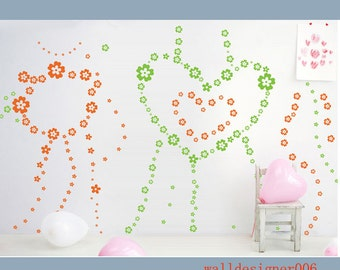 Kids Wall decal Baby nursery decal flower decal wall Decor wall sticker room decor Murals,Graphic wall art -  200pieces flowers