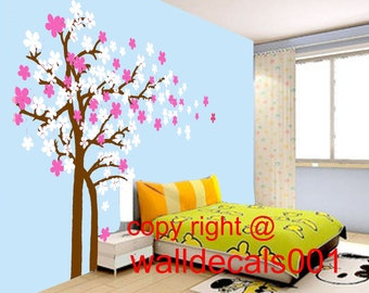 Wall decal tree decals cherry blossom decals  room decor girl wall decor wall art  - Trailing Cherry Blossom Tree