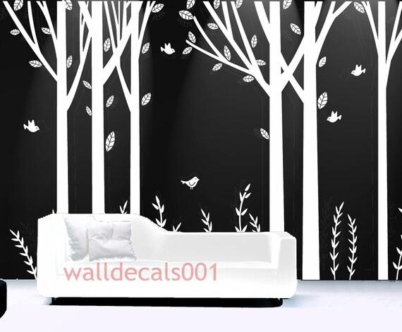 Arbre blanc stickers muraux arbre mural autocollants chambre for Autocollant mural arbre