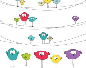 Cute Birds on Wire Digital Clip Art Set 2 - Ideal for Scrapbooking, Card Making and General Paper Crafts