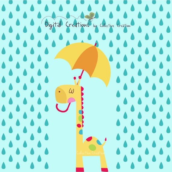 Rainy Day Giraffe and his Umbrella Digital by ...