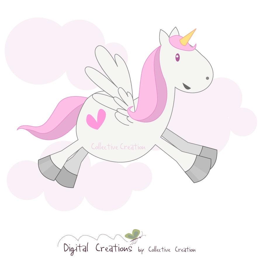 Cute Pegasus / Unicorn Digital Clipart by CollectiveCreation