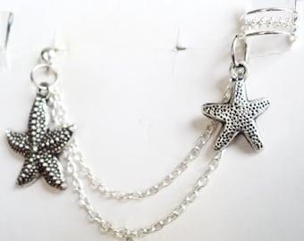 Alluring Genuine Sterling Silver Bali Style Ear Cuff Starfish Design Double Chain Stud