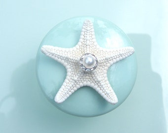 Knobs - Sea glass Mint Seashell Starfish Knobs with Swarovski Crystal and pearl rhinestone
