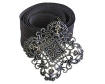 Gray & Silver Waist Belt, Silver Lace, Romantic Belt, Gray Ribbon Belt