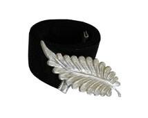 Black & Silver Waist Belt - Silver Feather, Wedding Waist Belt, Evening Belt, Designers Belt