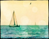 Sailing Photography, Sailboat, Sailing Art Print, Vintage Style, Retro Beach Art, Ocean Photography, Nautical Decor