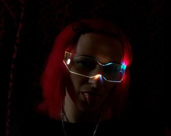 The Original Illuminated Cyber goth visor V2 Rainbow -videos linked-