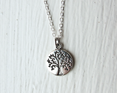 Tree of Life- Round Silver Charm Necklace on a 925 Sterling Silver or silver tone Chain- Leafy Tree- Unique Gift Ideas Under 20