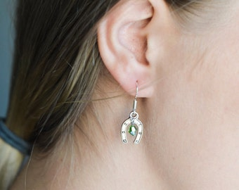 Horse Shoe Earrings- Custom Birthstone Jewelry- Tiny Silver Horseshoe Charms