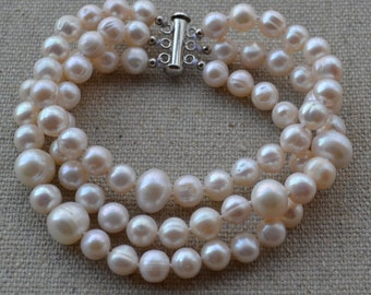 pearl bracelet,8-10mm 3 Rows 8 inches Freshwater Pearl bracelet,ivory pearl bracelet,bridesmaid bracelet, women bracelet, bridesmaid jewelry