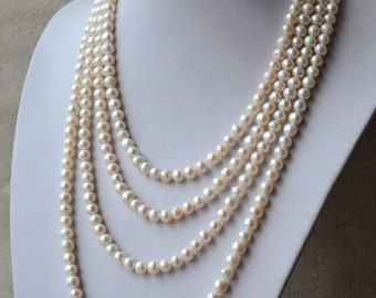 Long pearl necklace, 90 inches 7-8mm ivory Freshwater Pearl Necklace, real Pearl necklace,off round pearl necklace,bride necklace