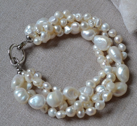 pearl bracelet -8 inches 4 rows 6-14mm white freshwater pearl bracelet,baroque pearl bracelet, wedding bracelet, hand knotted pearl bracelet