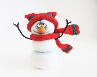Christmas gift - Snowman - Christmas decorations - Christmas decor - Christmas ornaments - Toys - Needle felting - Felt toys - Gifts for her