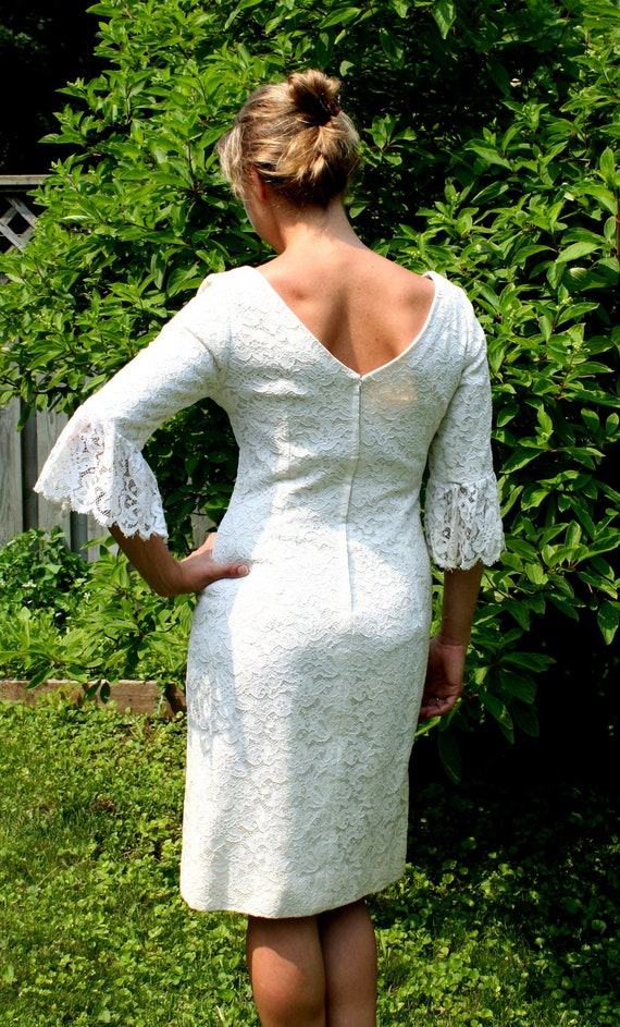 vintage Wedding Dress 1960s white lace Size S-M gorgeous Designer garden party with Bell sleeves.