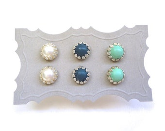 Mint, Navy, Ivory Stud Earrings - Set of Three Pairs of Post Earrings - Gift Idea