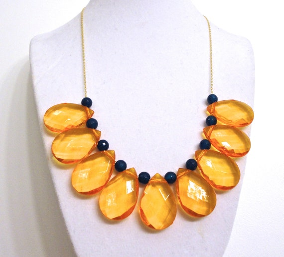 Orange Navy Necklace with Chunky Teardrop Focal Beads