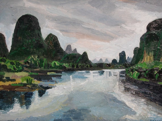 "Vietnam Mountains. Landscape. Oil on Wood. 12"" x 16"" x .5"". Oil Landscape. Ready to Hang."