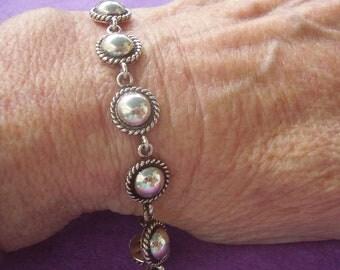 Vintage Handmade Sterling Silver Toggle Bracelet