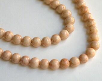 Riverstone beads in light brown round gemstone 6mm full strand 9444GS
