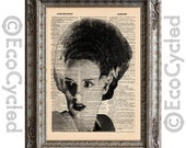 Bride of Frankenstein on Vintage Upcycled Dictionary Art Print Book Art Print Recycled Movie Monster