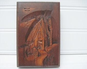Vintage wood carving, folk art,island art, plaque, island hut