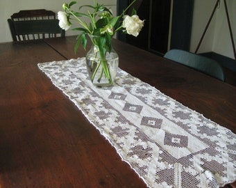 two antique Lace Dresser Scarves - like Two Maiden Aunts