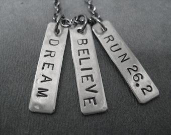 DREAM BELIEVE RUN 26.2 - Marathon Necklace on 18 inch gunmetal chain - 26.2 Marathon Jewelry
