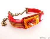 Brown, Red and Orange Felted Hippie Style Bracelet