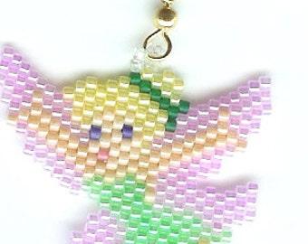Hand Beaded Tinkerbell earrings
