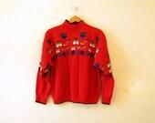 Novelty 80s Sweater  / Tulip Scandinavian Print Ski Sweater / L XL