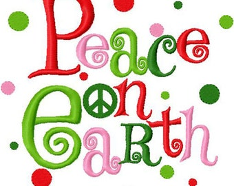Peace on earth christmas embroidery design instant download