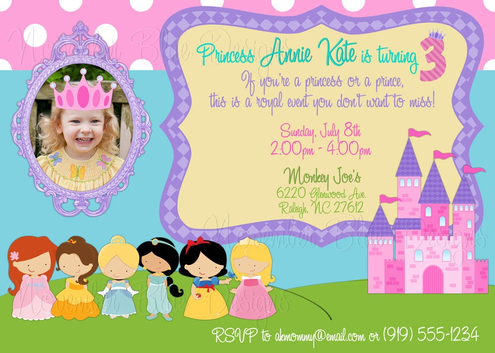 disney princess / princesses custom birthday invitation girl, Birthday invitations