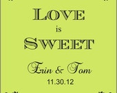 "Personalized Wedding Stickers - Wedding Favor Labels - 100  2"" Square or 60 2.5"" Square Favor Labels"