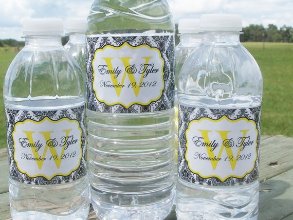 Waterproof Water Bottle Labels - 100 Printed with your wedding colors-Waterproof and self stick