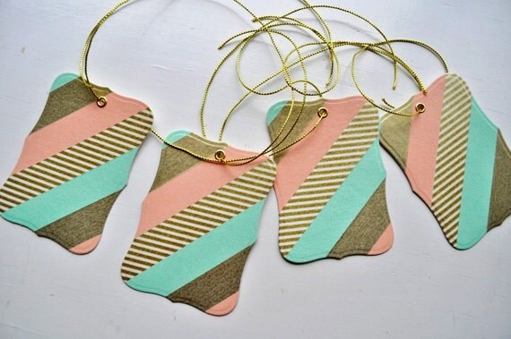 Peach, Aqua and Gold Washi Tape Gift Tags- set of 4 tags with gold thread for tying