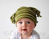 Newborn baby hat olive green gift double knot beanie - Newborn ONLY - Last one available. Material discontinued.