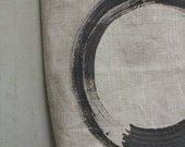 Hand Painted Linen and Leather Tote Bag Enso