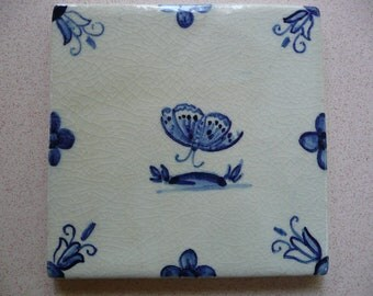 Handmade Ceramic Tile - Handpainted Butterfly in Blue and White