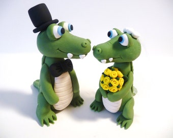 Alligator - Crocodile Wedding Cake Topper - Choose Your Colors