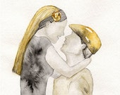 Sweet Embrace/yellow and gray/yellow and grey romance watercolor print