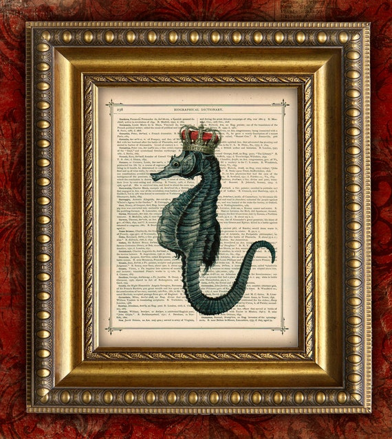 Items similar to Dictionary Art Print SEAHORSE CROWN Sea ...