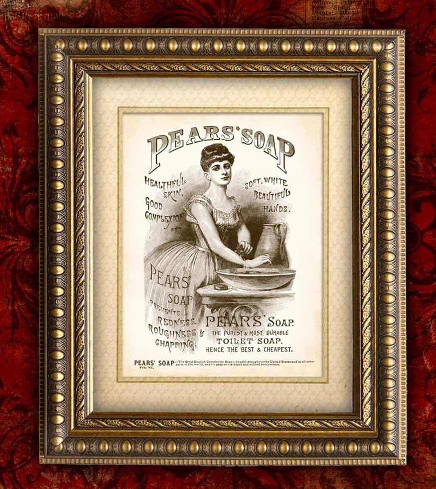 Vintage Bathroom Decor PEARS Soap Ad Vintage Art By
