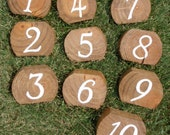 hand-painted rustic wood wedding table numbers : set of 10 -FREE SHIPPING