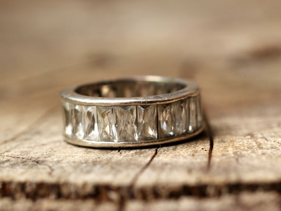 Art Deco Sterling  Ring French Faceted White Rhinestones Great Setting 30s Jewelry  Size 6.8 US