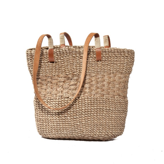 Small Sisal Woven Bag Beige Straw Tote Brown Leather Shoulder Straps